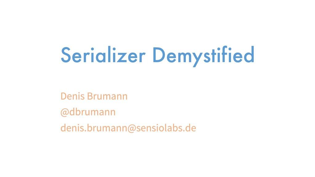 Serializer Demystified
