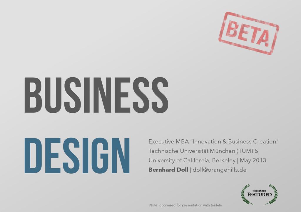 "Business Design Executive MBA ""Innovation & Bus..."