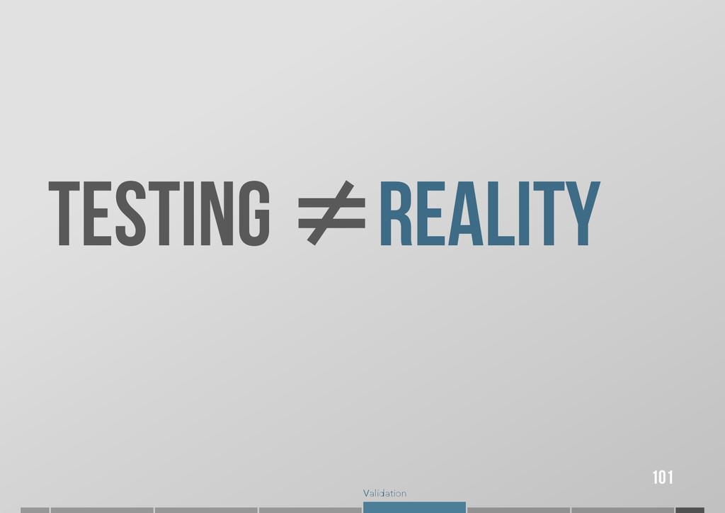 Validation 101 TESTING ≠ ≠REALITY