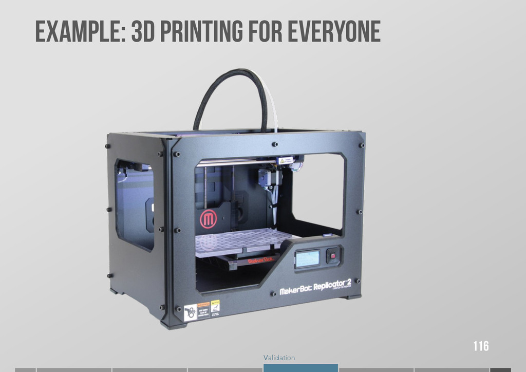 Validation EXAMPLE: 3D PRINTING FOR EVERYONE 116