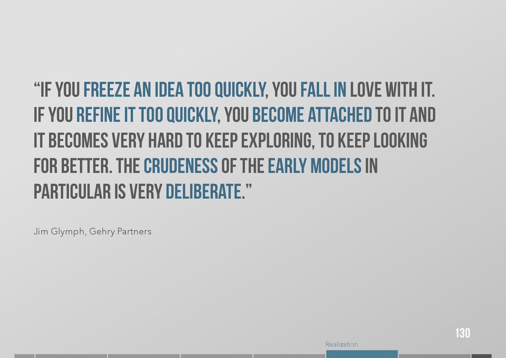 """Realization """"If you freeze an idea too quickly,..."""