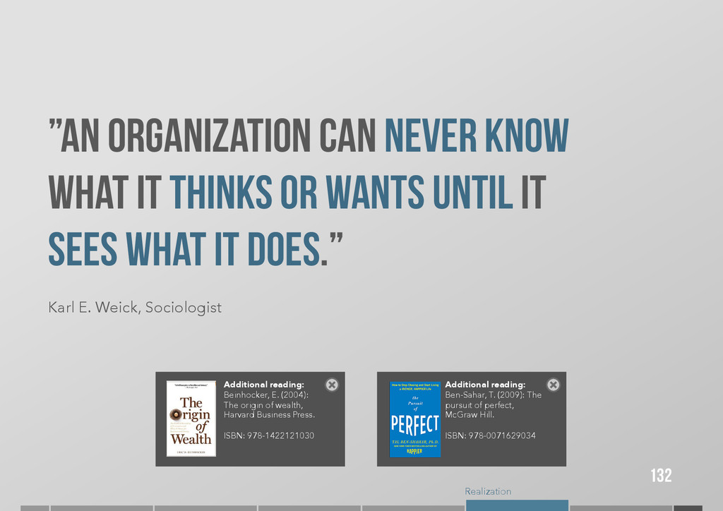 """Realization """"An organization can never know wha..."""
