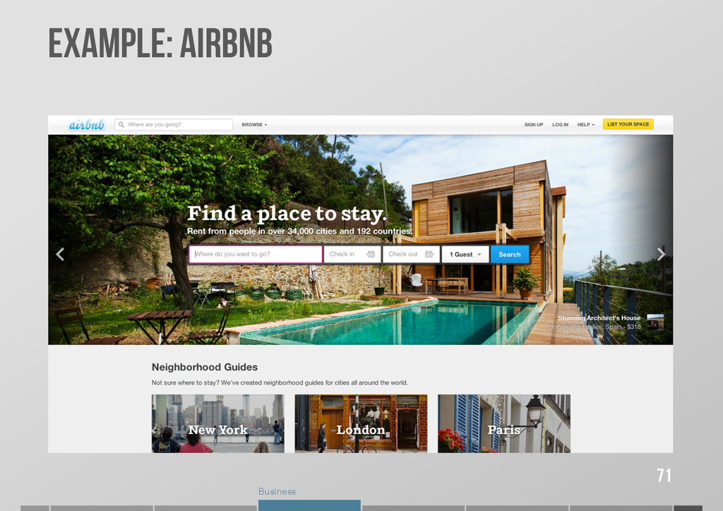 Business Example: AIRBNB 71