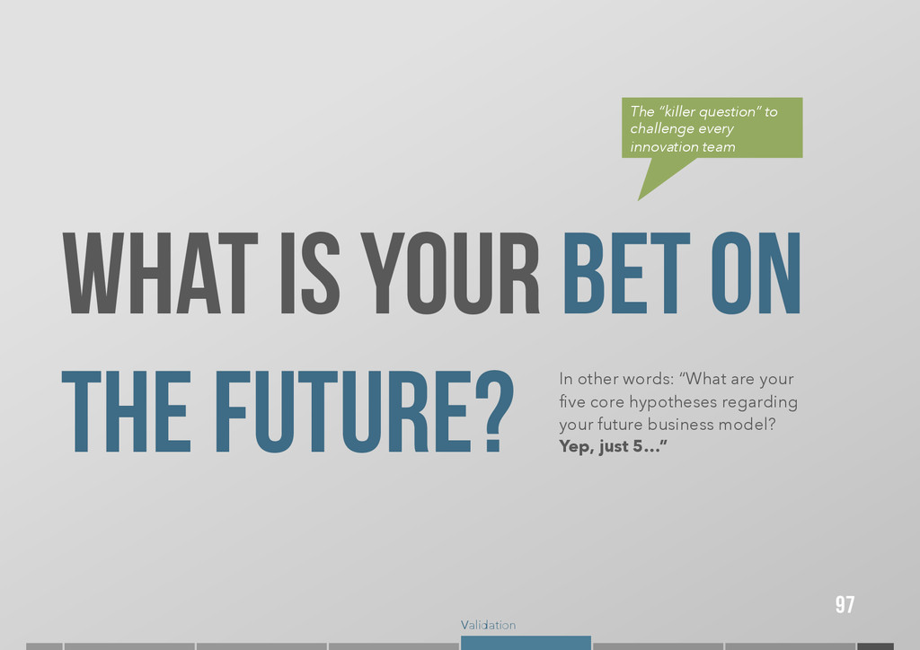 Validation 97 What is YOUR BET ON THE FUTURE? I...