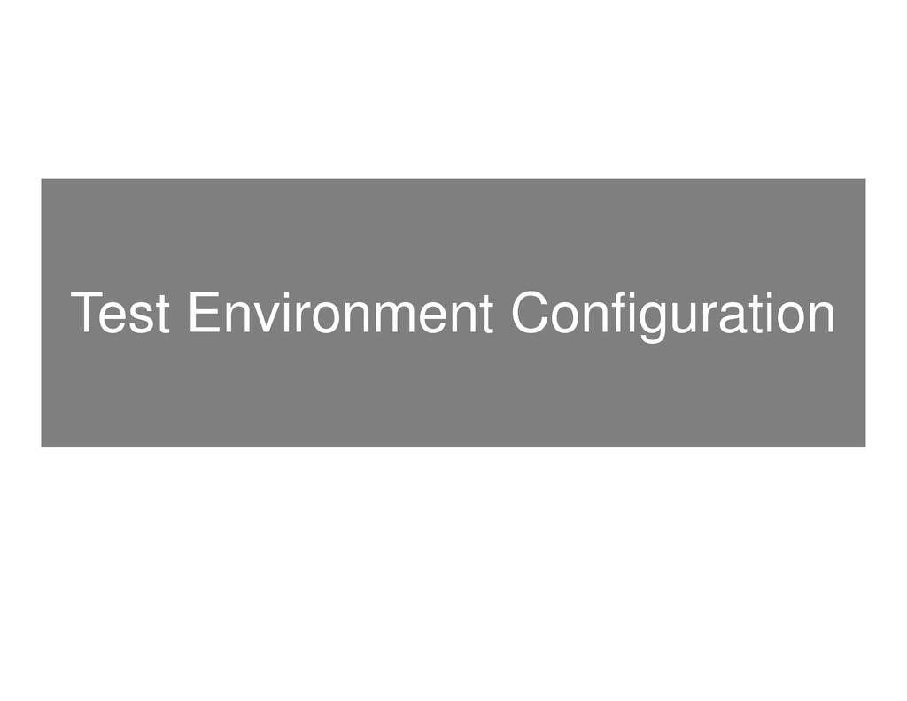 Test Environment Configuration