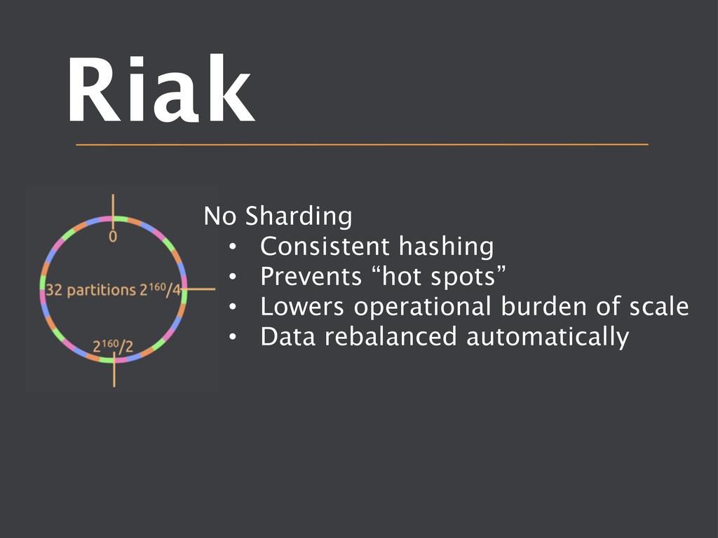 Riak No Sharding • Consistent hashing • Pr...