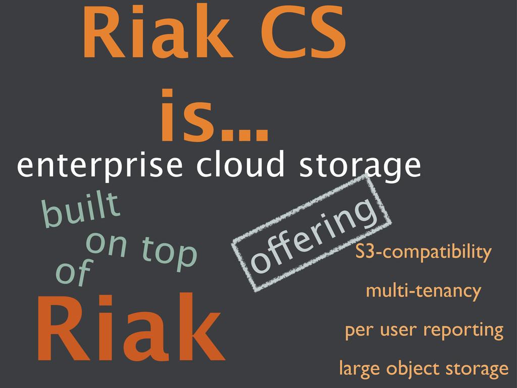 Riak CS is... enterprise cloud storage Riak ...