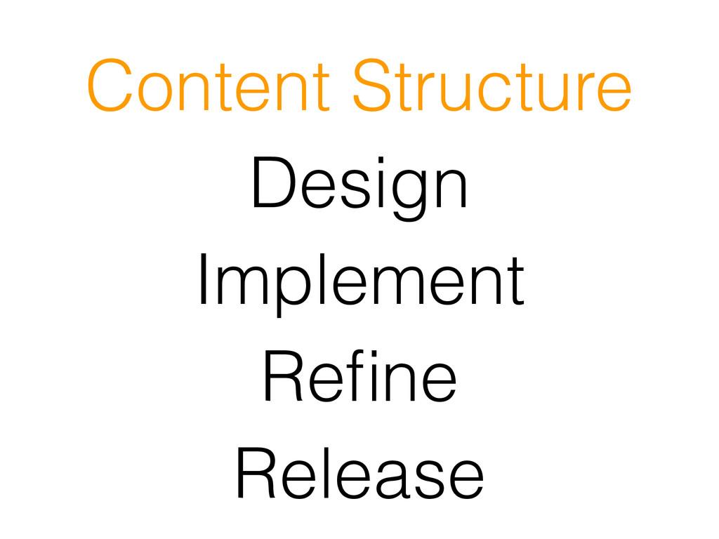 Design Implement Refine Release Content Structure