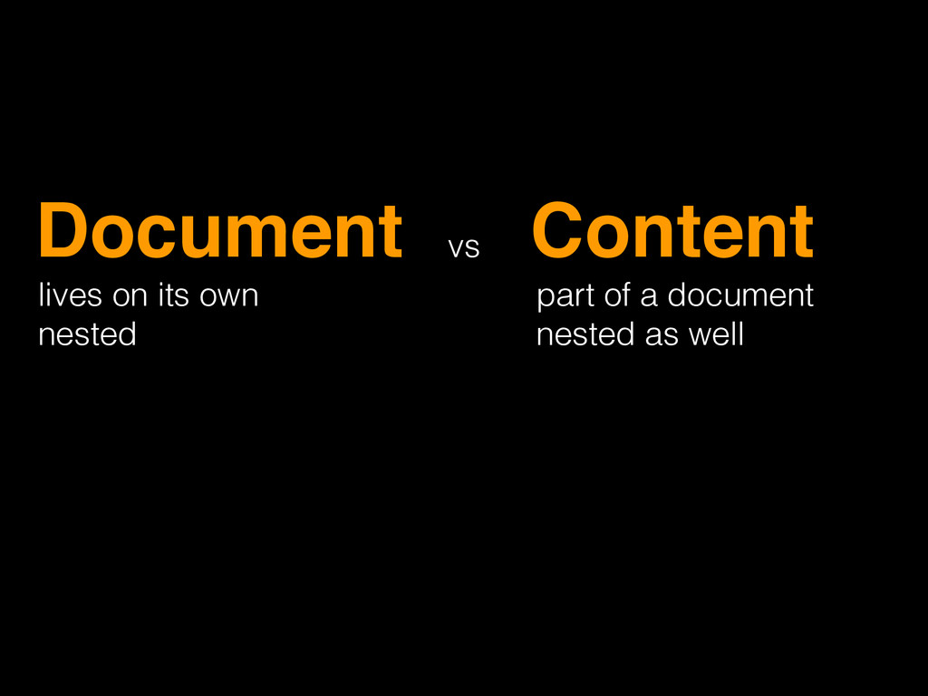 Document! Content! lives on its own nested part...