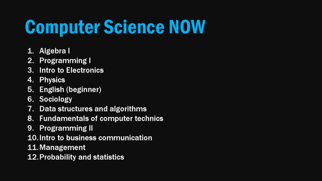 Computer Science NOW 1. Algebra I 2. Programmin...