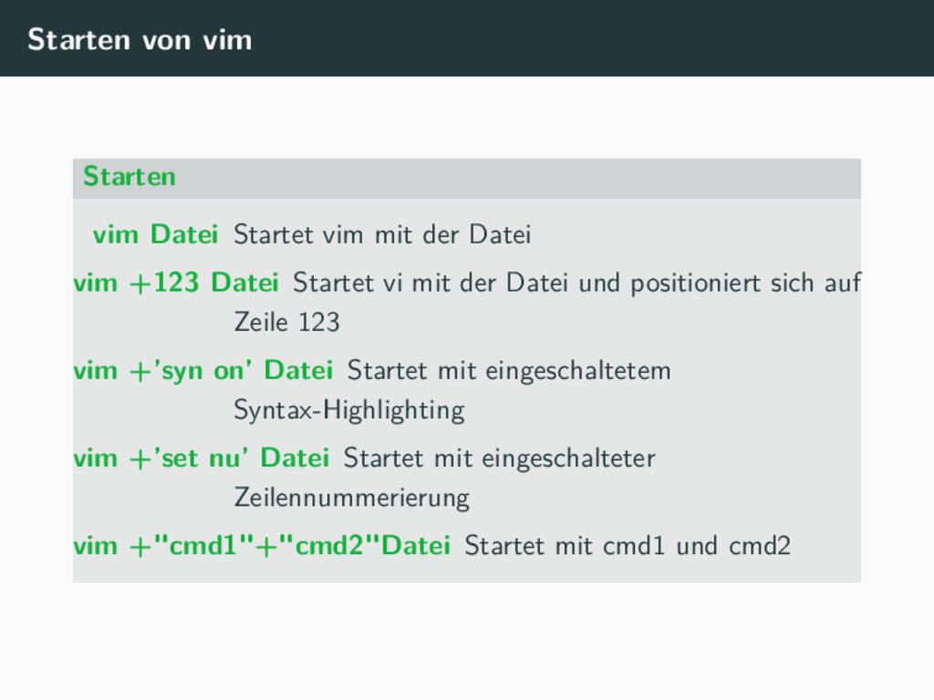 Starten von vim Starten vim Datei Startet vim m...