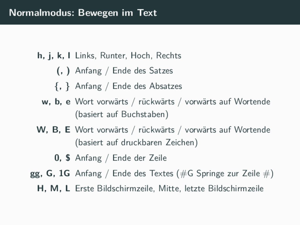 Normalmodus: Bewegen im Text h, j, k, l Links, ...