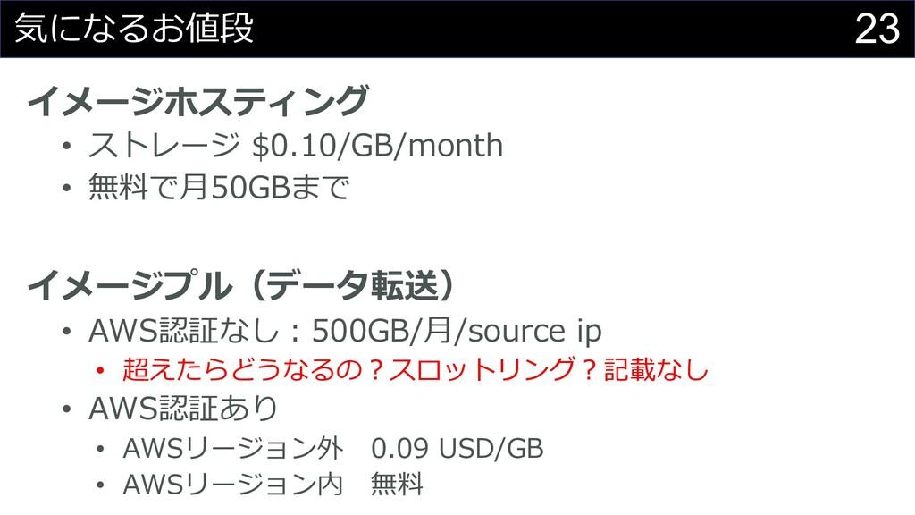 23 気になるお値段 イメージホスティング • ストレージ $0.10/GB/month • ...