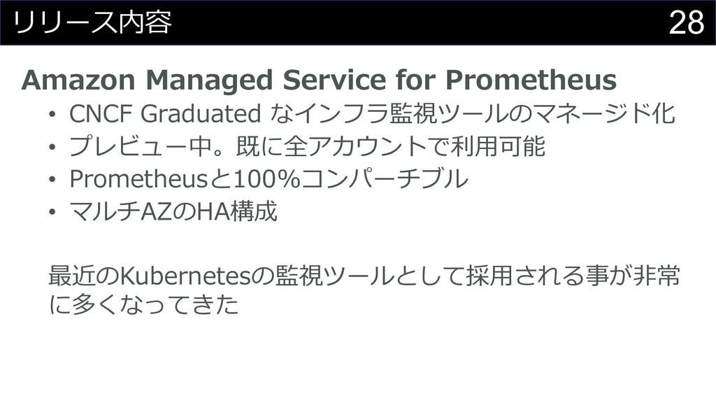 28 リリース内容 Amazon Managed Service for Prometheus...