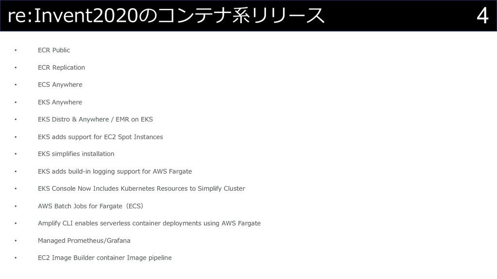 4 re:Invent2020のコンテナ系リリース • ECR Public • ECR Re...