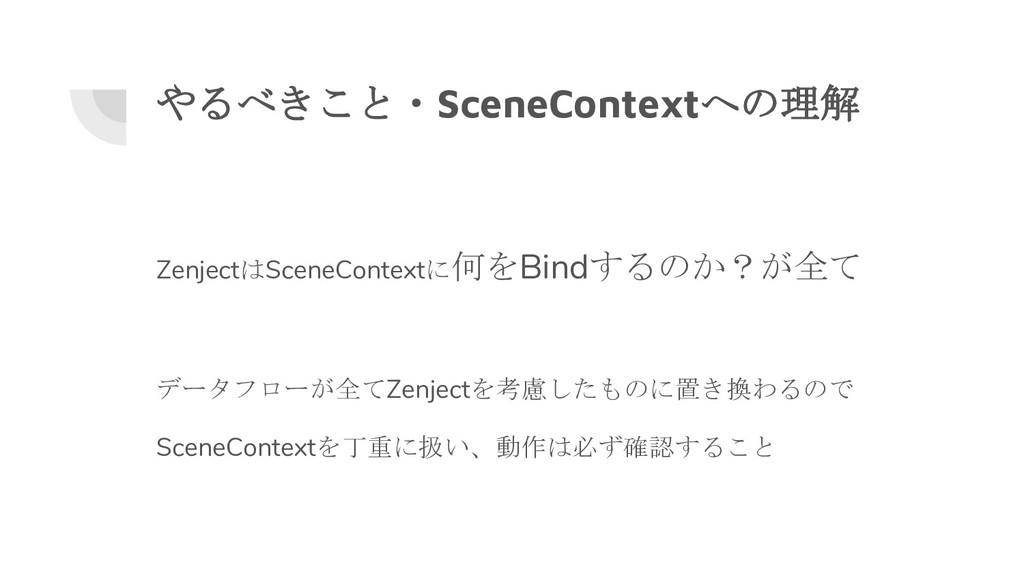 やるべきこと・SceneContextへの理解 ZenjectはSceneContextに何を...
