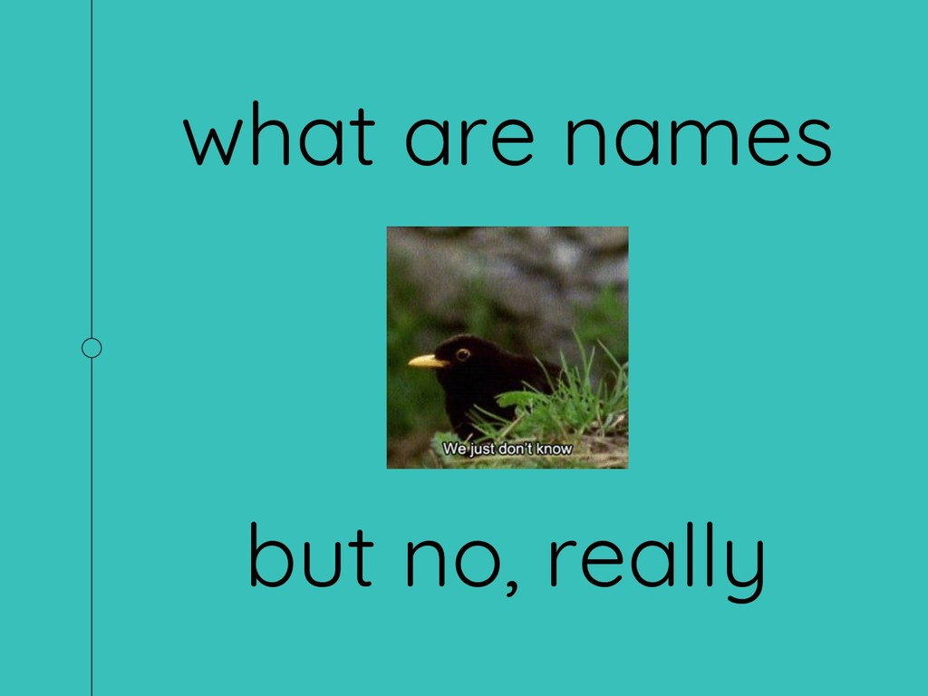 what are names but no, really