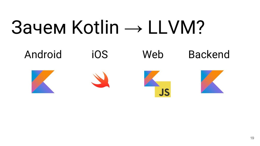 Зачем Kotlin → LLVM? Android iOS Web Backend 19