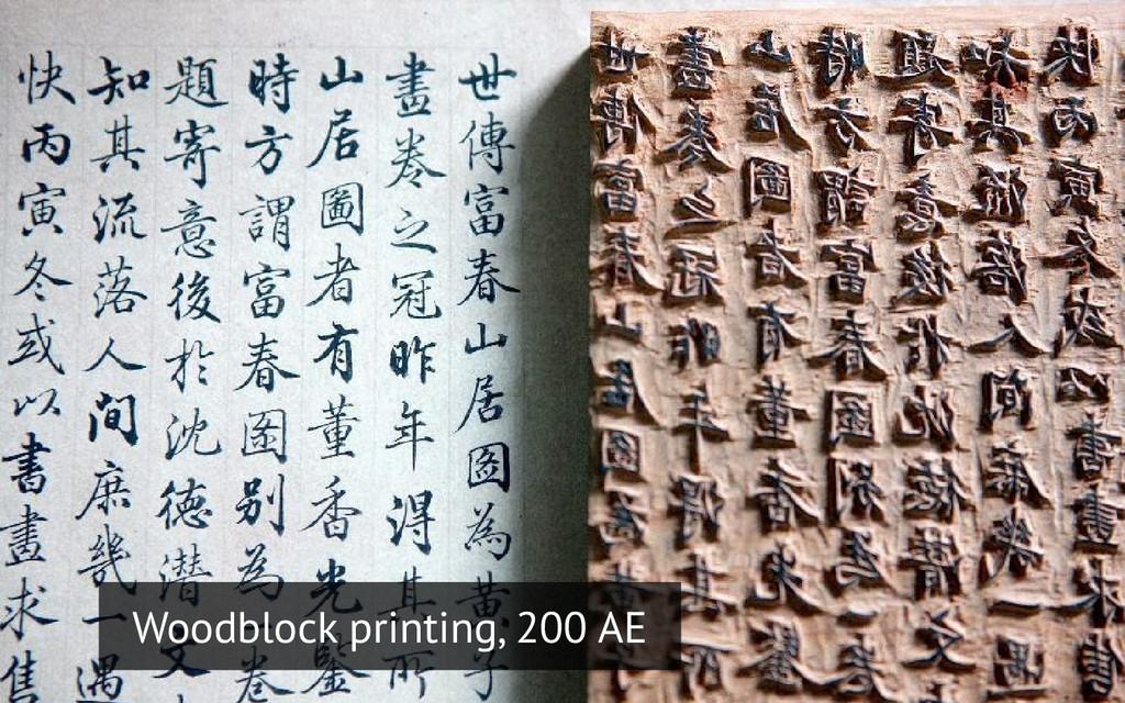 Woodblock printing, 200 AE