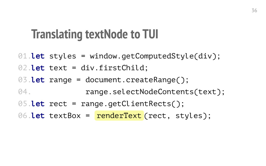 Translating textNode to TUI l e t s t y l e s =...