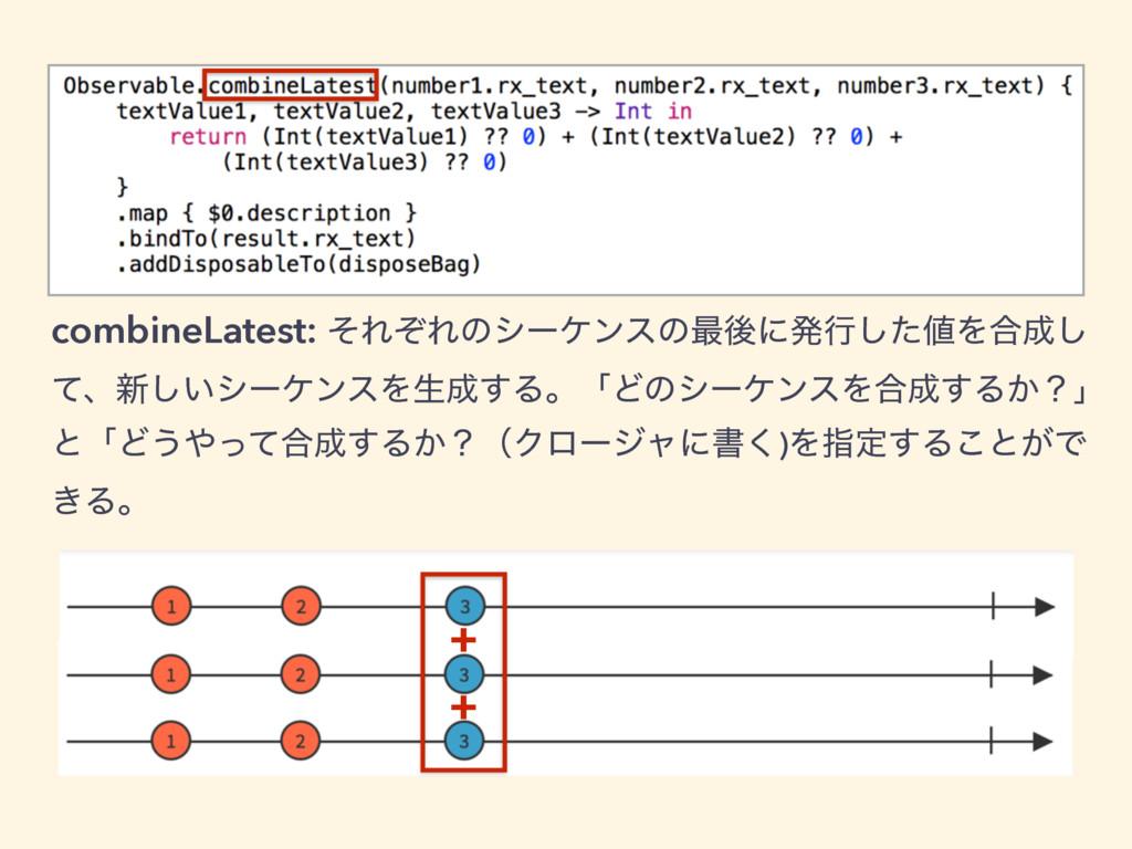 combineLatest: ͦΕͧΕͷγʔέϯεͷ࠷ޙʹൃߦͨ͠Λ߹͠ ͯɺ৽͍͠γʔέ...