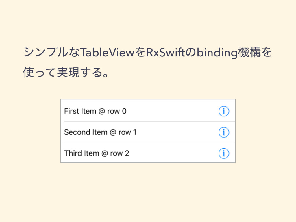 γϯϓϧͳTableViewΛRxSwiftͷbindingػߏΛ ࢖࣮ͬͯݱ͢Δɻ
