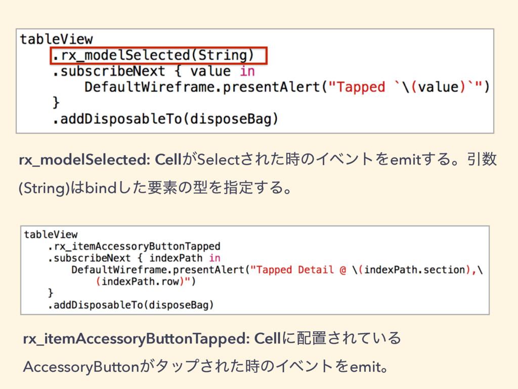 rx_modelSelected: Cell͕Select͞ΕͨͷΠϕϯτΛemit͢ΔɻҾ...