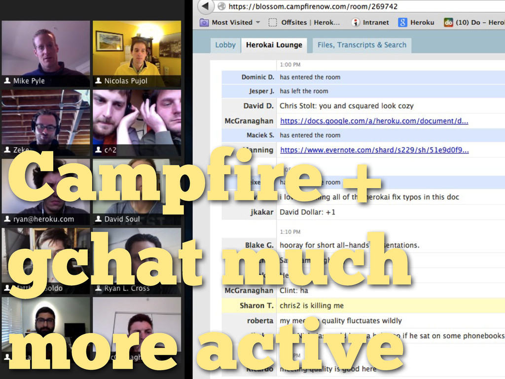 Campfire + gchat much more active