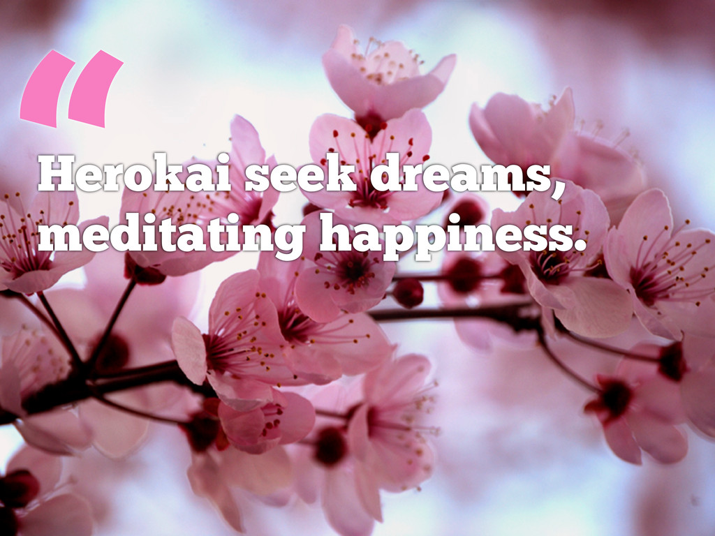 """ Herokai seek dreams, meditating happiness."
