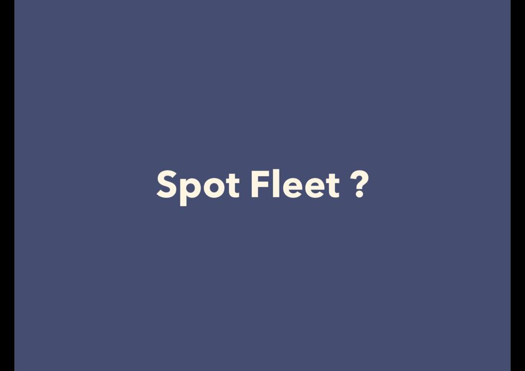 Spot Fleet ?