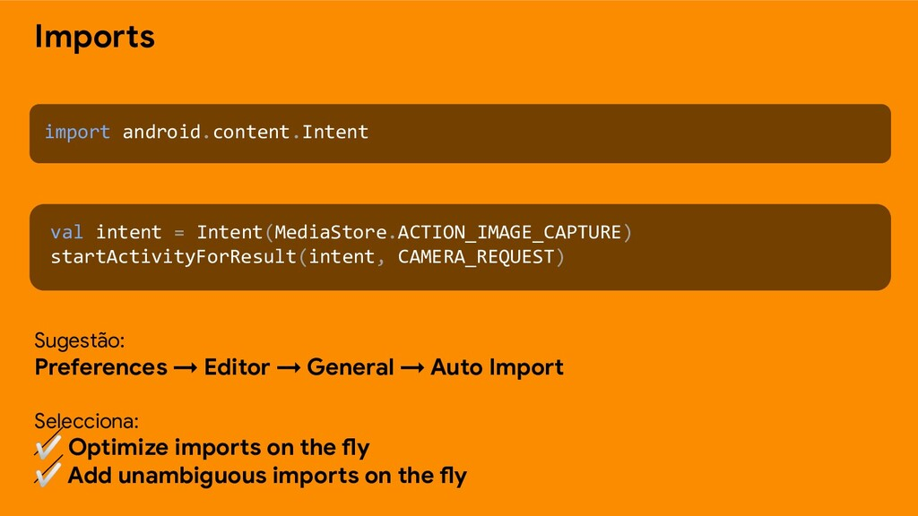Imports import android.content.Intent val inten...