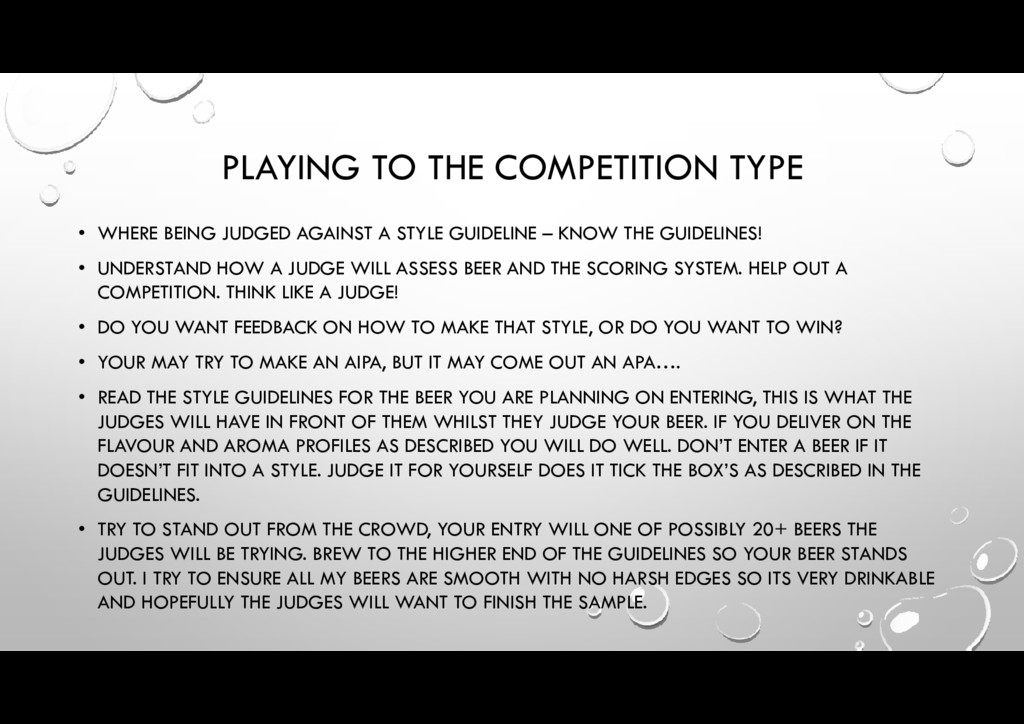 PLAYING TO THE COMPETITION TYPE • WHERE BEING J...