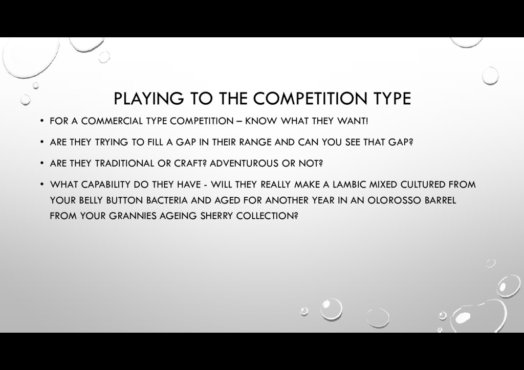 PLAYING TO THE COMPETITION TYPE • FOR A COMMERC...