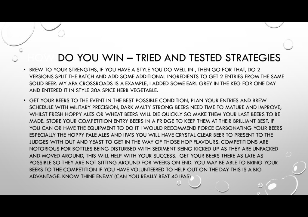 HOW DO YOU WIN – TRIED AND TESTED STRATEGIES • ...