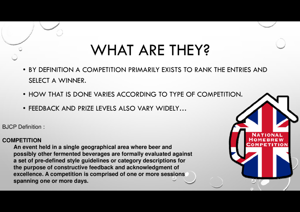 • BY DEFINITION A COMPETITION PRIMARILY EXISTS ...