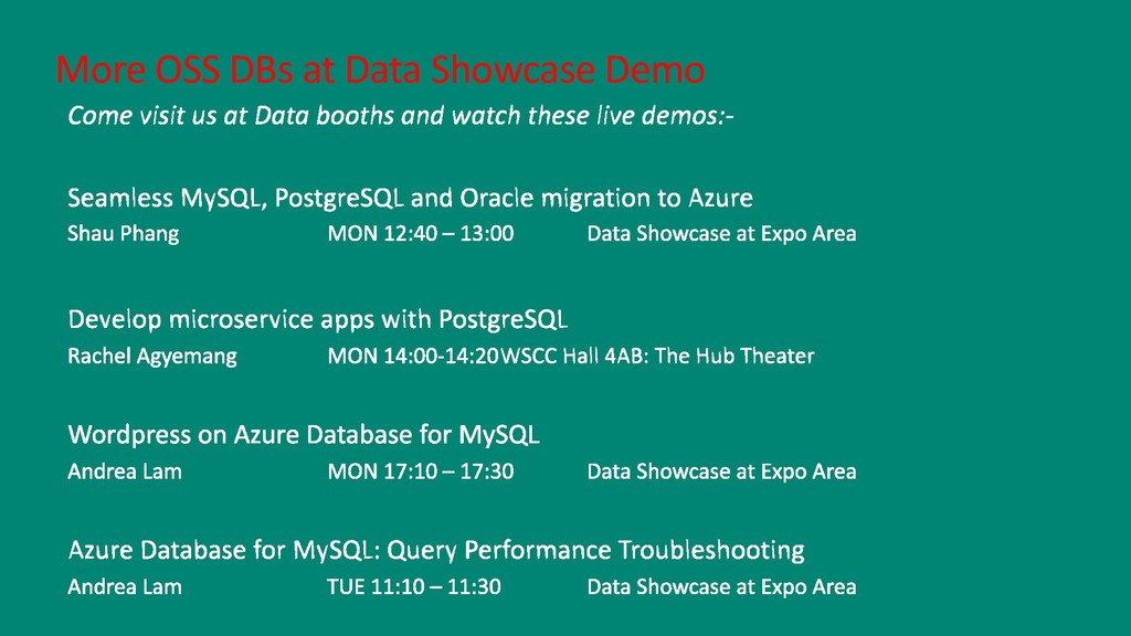 More OSS DBs at Data Showcase Demo
