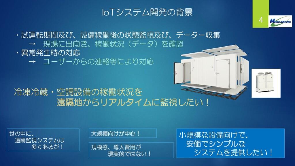 IoTシステム開発の背景 4 ・試運転期間及び、設備稼働後の状態監視及び、データー収集 → 現...
