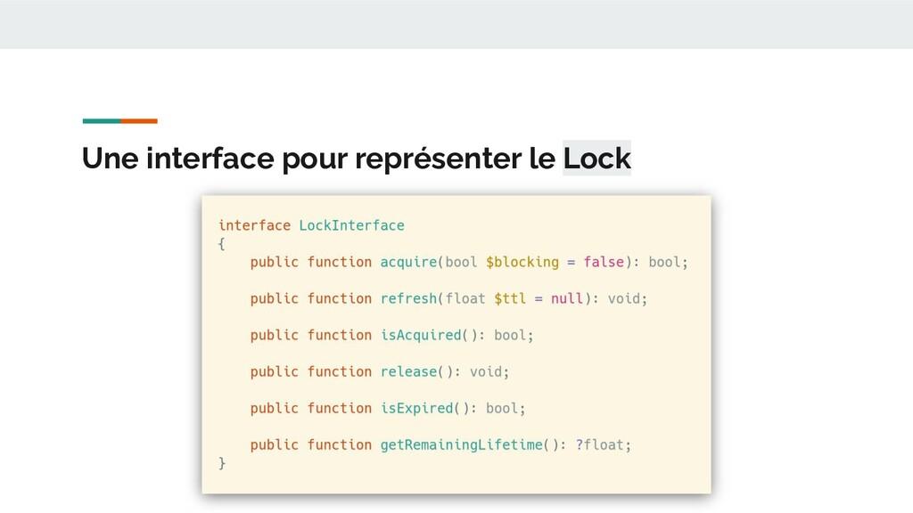 Une interface pour représenter le Lock