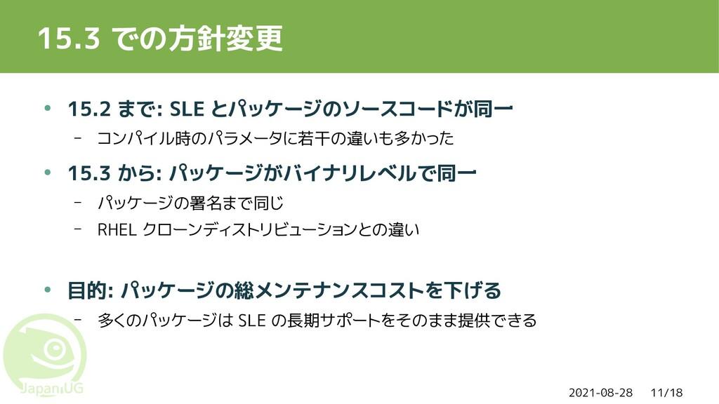 2021-08-28 11/18 15.3 での方針変更 ● 15.2 まで: SLE とパッ...