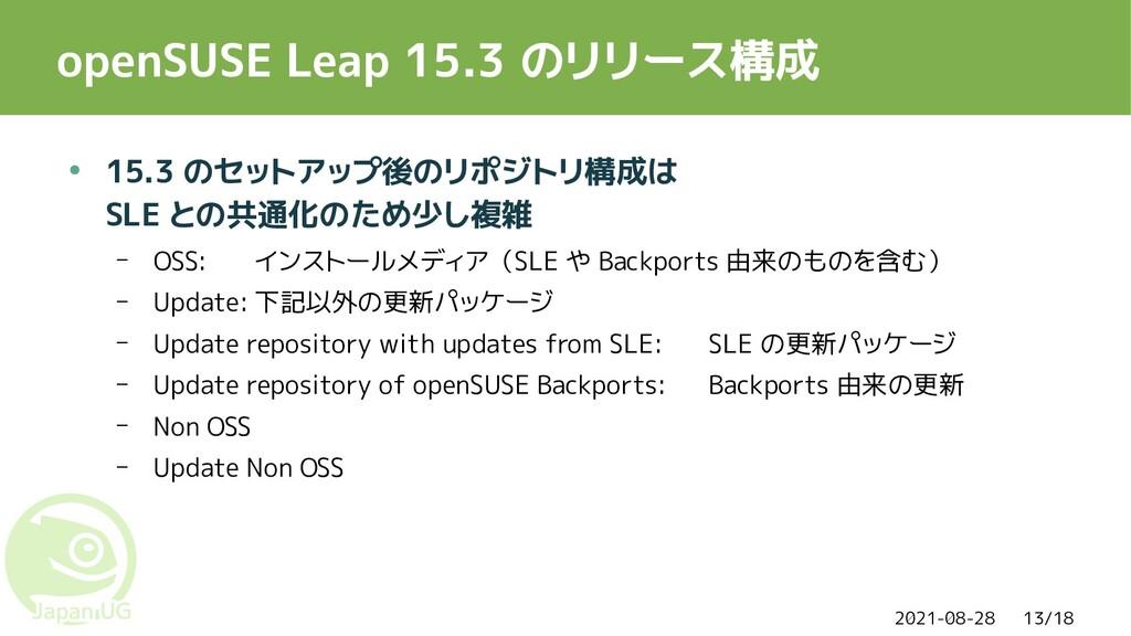 2021-08-28 13/18 openSUSE Leap 15.3 のリリース構成 ● 1...