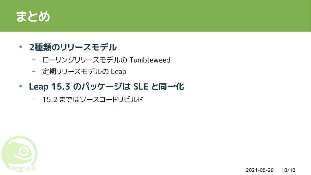 2021-08-28 18/18 まとめ ● 2種類のリリースモデル – ローリングリリースモ...