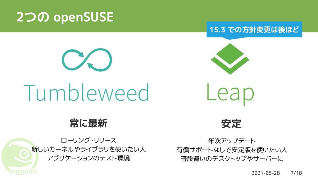 2021-08-28 7/18 2つの openSUSE Tumbleweed 常に最新 安定...