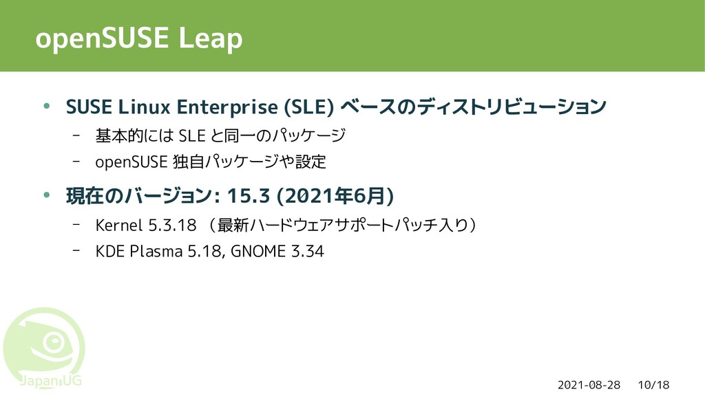 2021-08-28 10/18 openSUSE Leap ● SUSE Linux Ent...