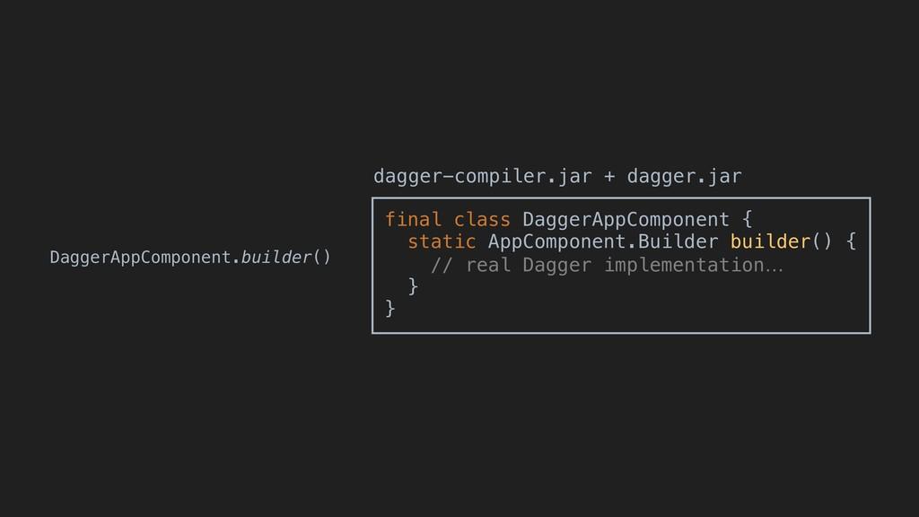 DaggerAppComponent.builder() final class Dagger...