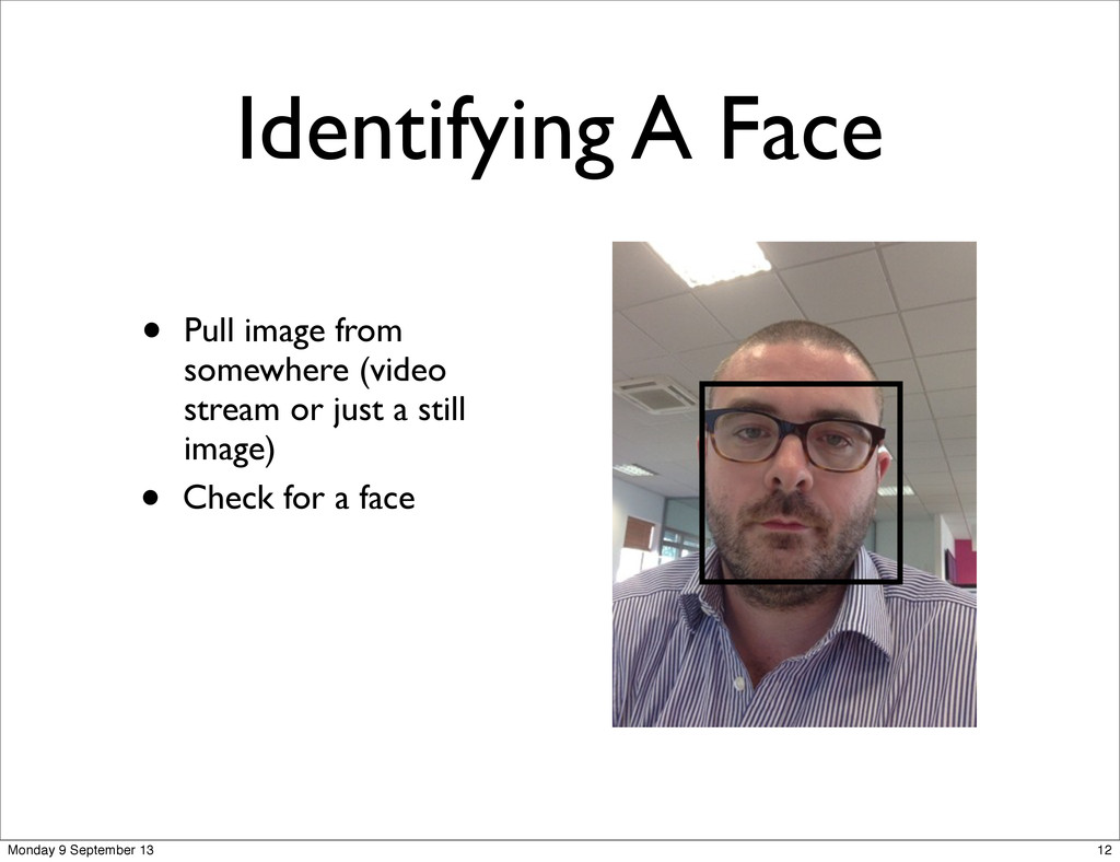 Identifying A Face • Pull image from somewhere ...