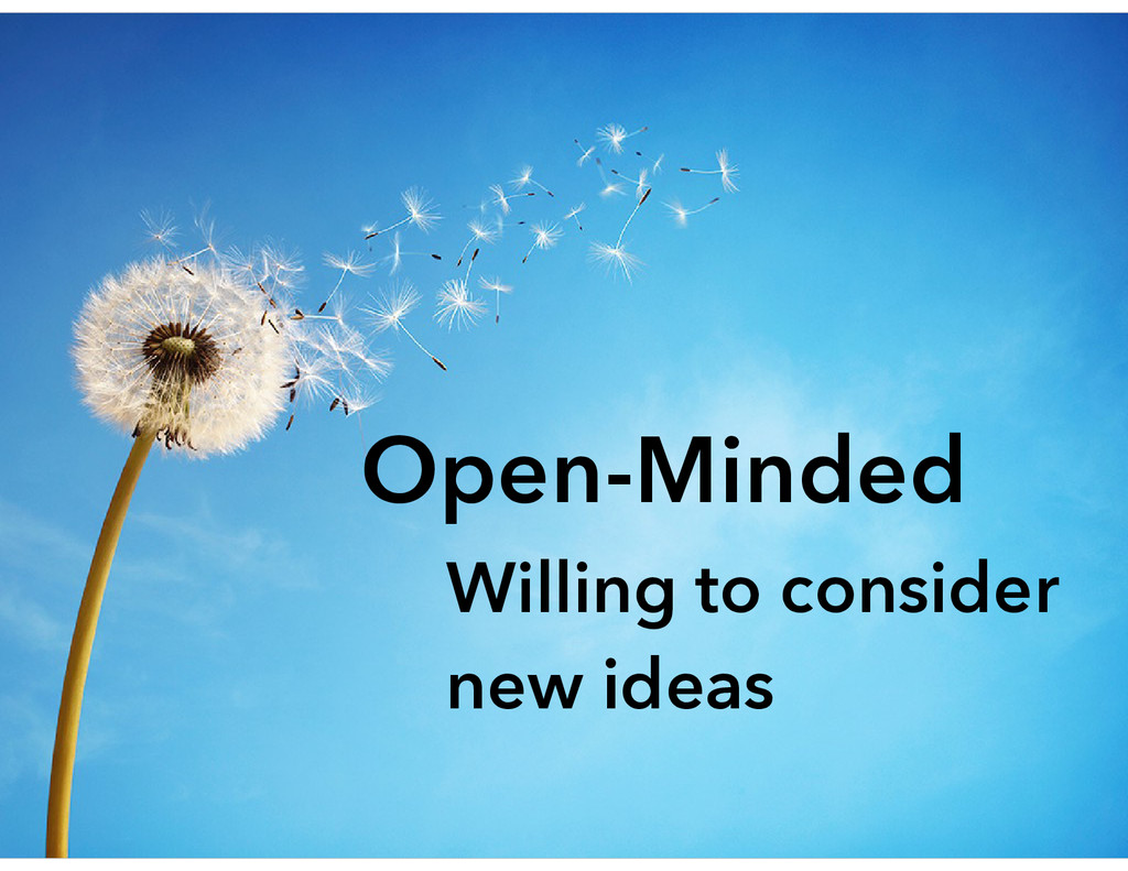 Open-Minded Willing to consider new ideas