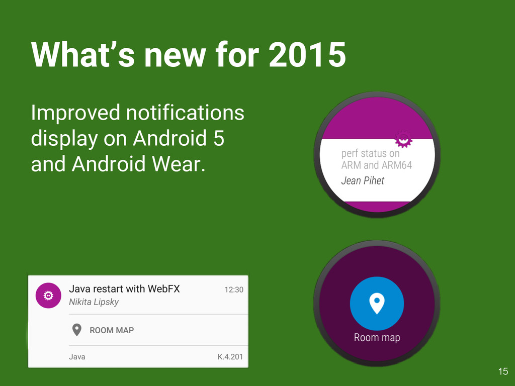 What's new for 2015 Improved notifications disp...