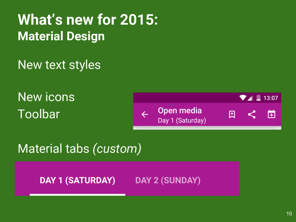What's new for 2015: Material Design New text s...