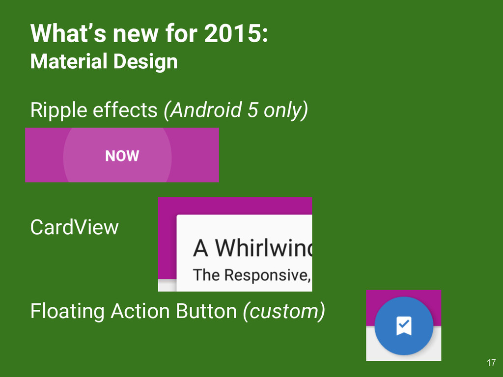 What's new for 2015: Material Design Ripple eff...