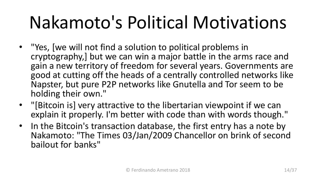 "Nakamoto's Political Motivations • ""Yes, [we wi..."